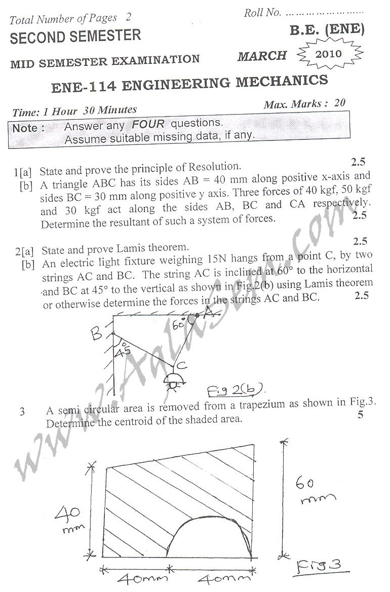 DTU Question Papers 2010 – 2 Semester - Mid Sem - ENE-114
