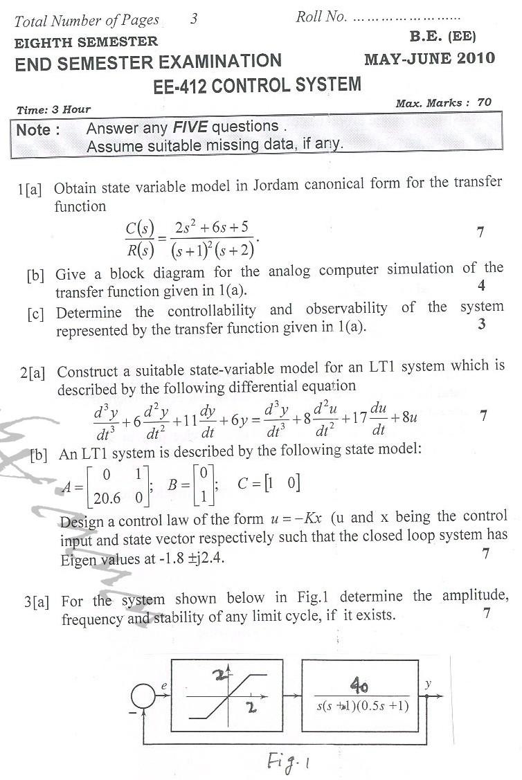 DTU Question Papers 2010 – 8 Semester - End Sem - EE-412