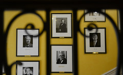 Lady Thatcher alongside former PMs on the Grand Staircase