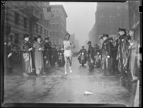 Tarzan Brown winning the 1939 Marathon