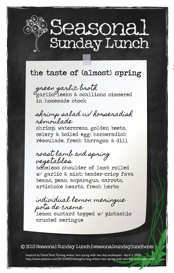 Almost Spring Menu inspired by NY Times