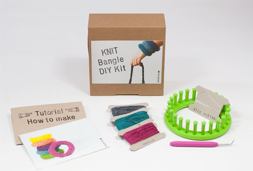 colorful knitted bangle bracelet kit with paper yarn