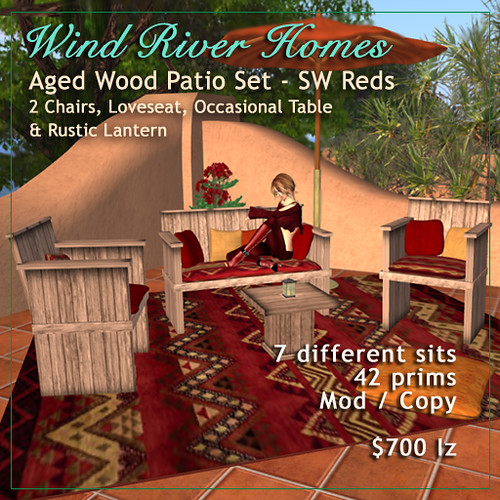 Aged Wood Patio Set - Southwest Red by Teal Freenote