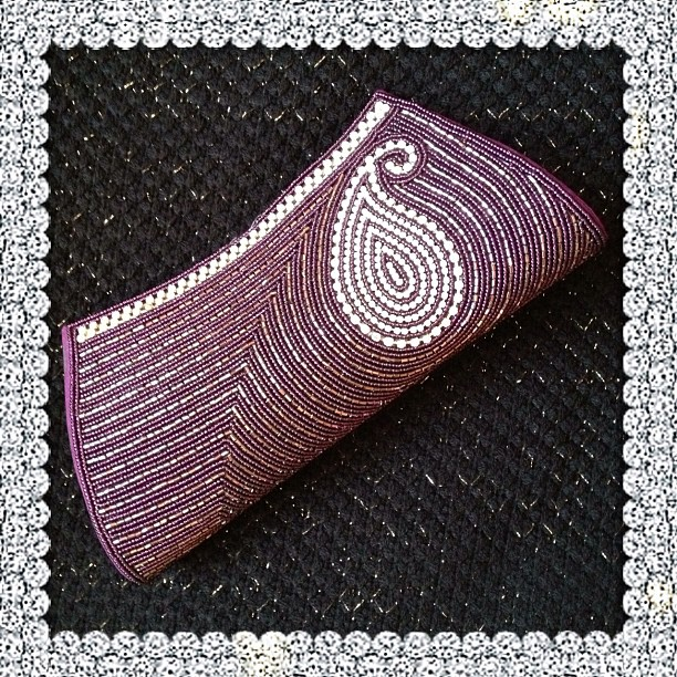 To match the clothes I wear tomorrow #purse #bag #gems #white #purple #paisley #glittery #sparkle