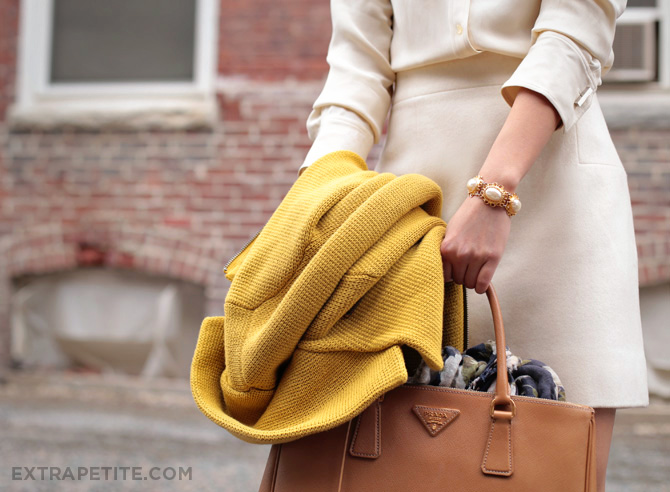 double ivory mustard cardigan