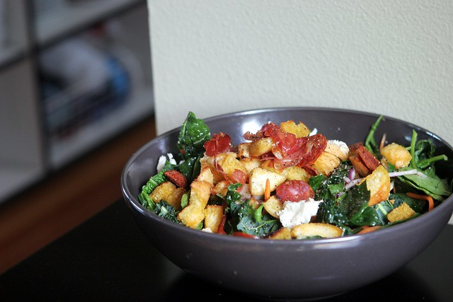 kale and chorizo salad