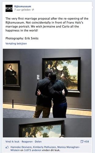 Rijksmuseum huwelijksaanzoek