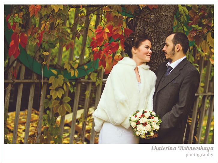 осенняя свадьба, свадьба под дождем, свадебная фотография, молодожены, фотограф Москва
