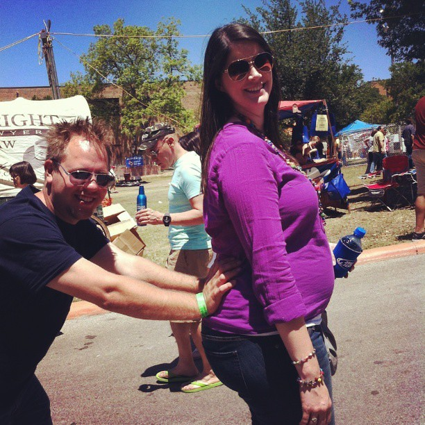 From earlier today. John thought I could use a little help walking up the hill. #OysterBake #fiesta