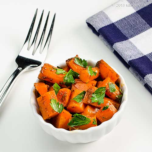 Moroccan Carrot Salad in white ramekin