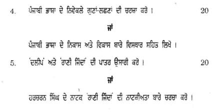 DU SOL B.Com. Programme Question Paper - Punjabi B - Paper XV
