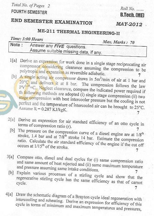 DTU Question Papers 2012 - 4 Semester - End Sem - ME-211