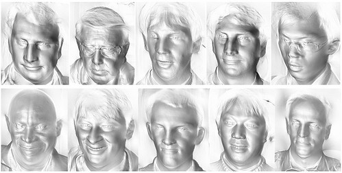 Faces photographed using photometric stereo technology