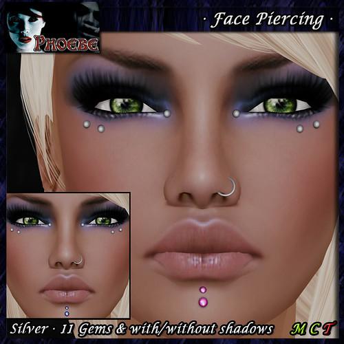 P Unisex Face Piercing Q6 ~Silver-11 Gems~