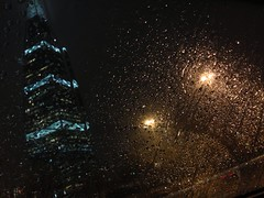 Riyadh rain front of Al Faisaliah tower