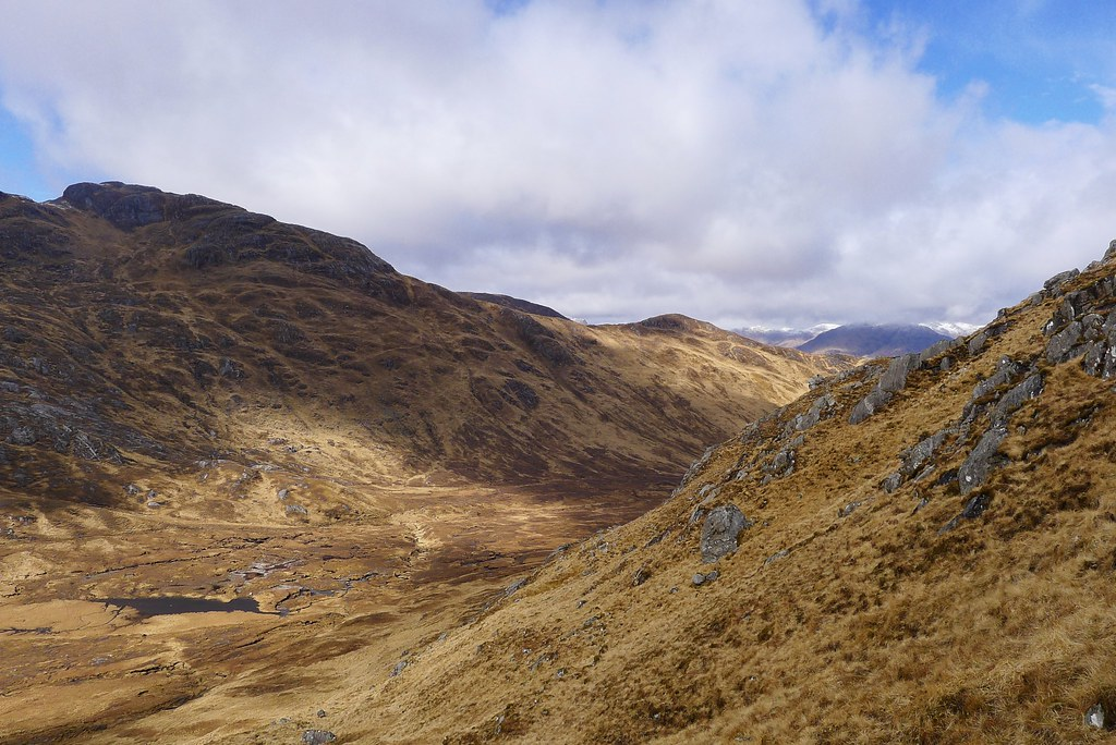 Looking into the glen from Meall nan Damh