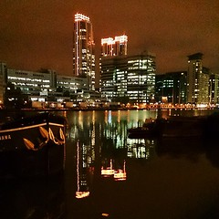 Orange Neon Buildings #buildings #neon #lights #reflection #Docklands #London #E14