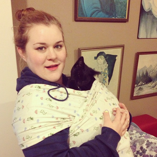 Made my own moby wrap and tested it out with #atticuskitty. Works great! Just need the baby to put in it!