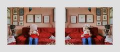 """Cooperation Lotti (6 years) and me Gemeinschaftsarbeit Lottchen (6 Jahre) und ich. Zeitung lesen Standard, Lotti Aktion mit Blumen Polstern. Photos by Lotti with my camera 27. Juni 2016 - (nicht: """"in den Augen der anderen"""")"""