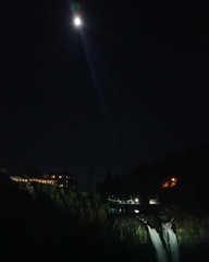 Falls in the moonlight (and giant spotlights)