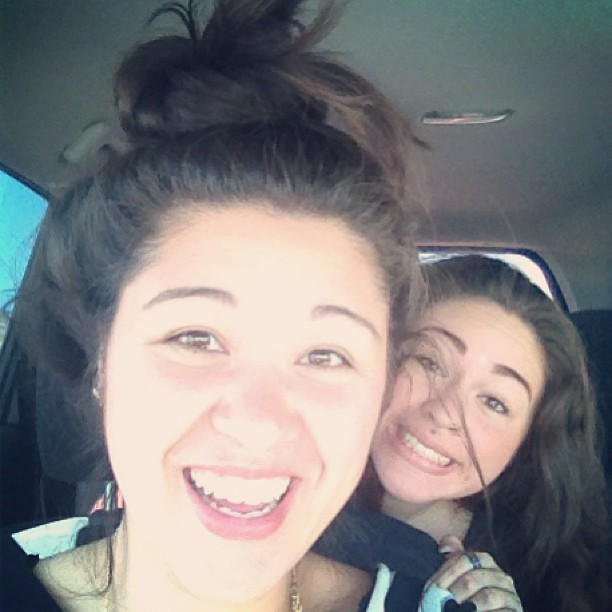 Seester and I. There's something on my head. @lawrenashley