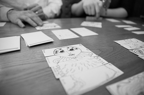 A picture of a prototype game being played.