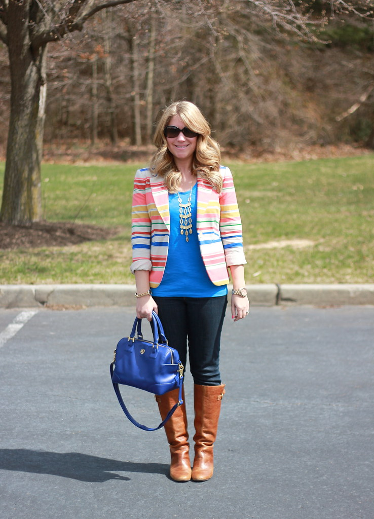 colorful striped blazer casual outfit spring