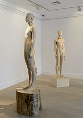 <strong>The Tainted - </strong> <br />Exhibition Display: Aron Demetz, Sud, 2012 (left); Aron Demetz, Pholiota Denuntians, 2011, (right)