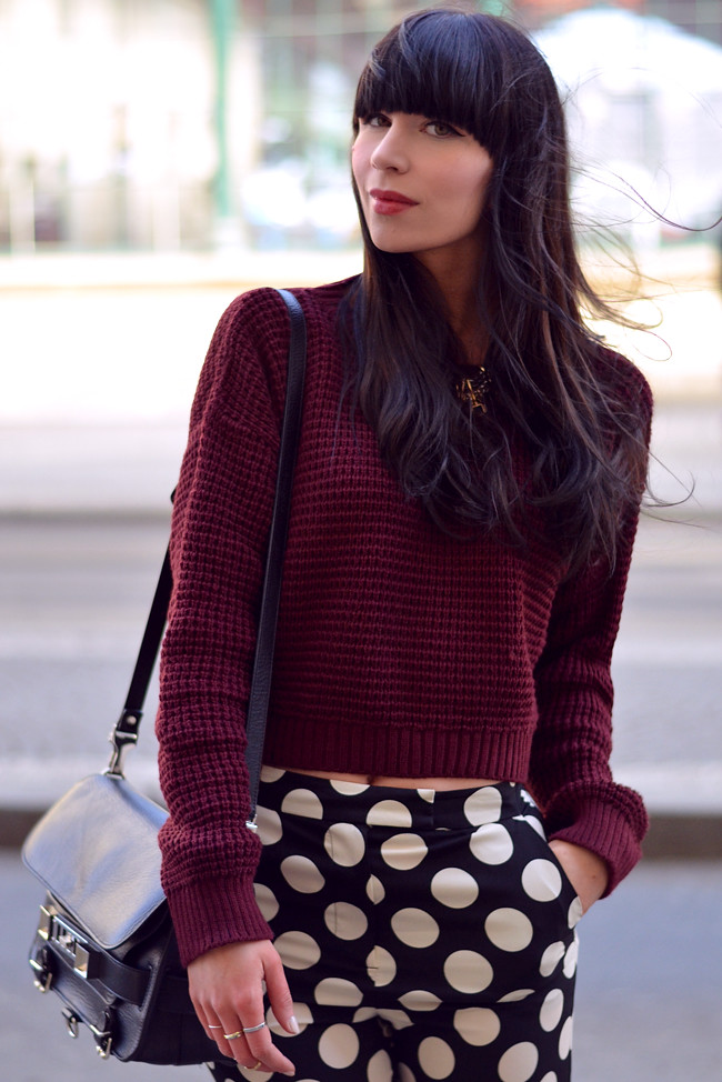 Topshop dots burgundy outfit blogger CATS & DOGS fashion blog 8
