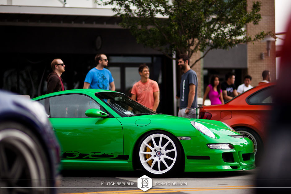 green porsche gt3 rs at v2labs mystery meet 2013 - slammed dropped dumped bagged static coilovers hella flush stanced stance fitment low lowered lowest camber wheels tucked 16s 17s 18s 19s 20s 3piece 1 piece custom airbags scene scenester