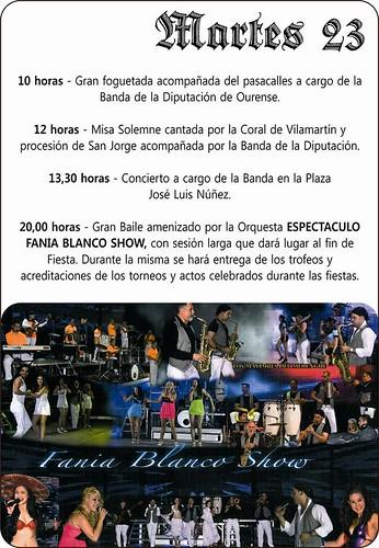 O Barco de Valdeorras 2013- Festas de San Xurxo en Vilamartín - cartel 4º día
