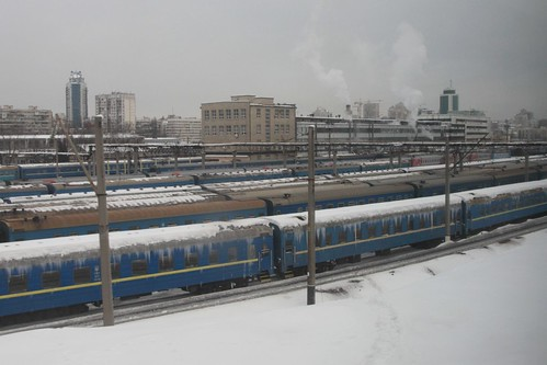 Stabled passenger carriages covered in icicles