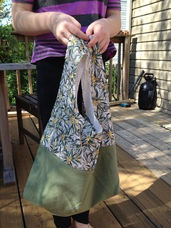 Upcycled fabric market totes - ready for the farmers market!