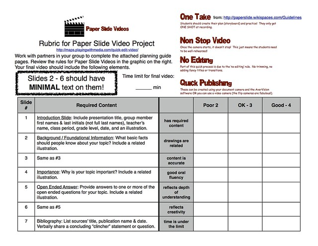 Paper-Slide Video Rubric and Planning Guide 1 of 3