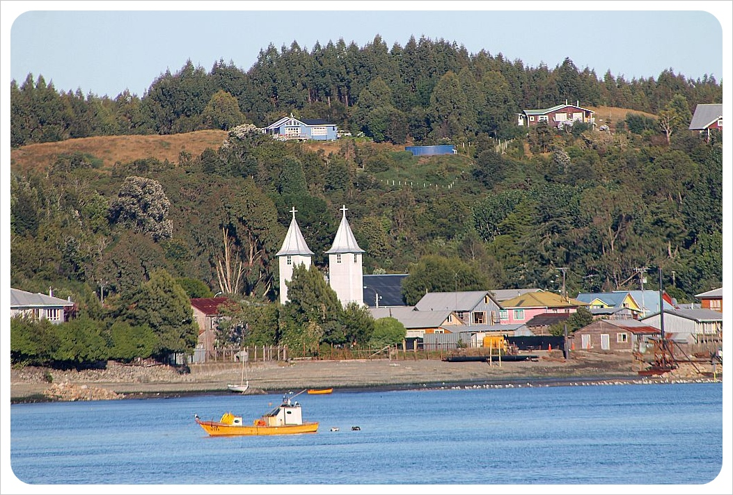 chiloe bay with church
