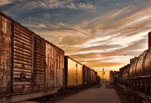 railroad sunset galveston color cars museum train dynamic featherfest