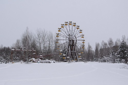 Famous ferris wheel at the abandoned Pripyat amusement park
