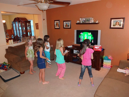Playing Just Dance at her Night Owl Party