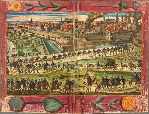 019-Vista general de una cabalgata-Descripción del bautismo de la dama Isabel de Hesse-1598-Biblioteca Estatal de Baviera