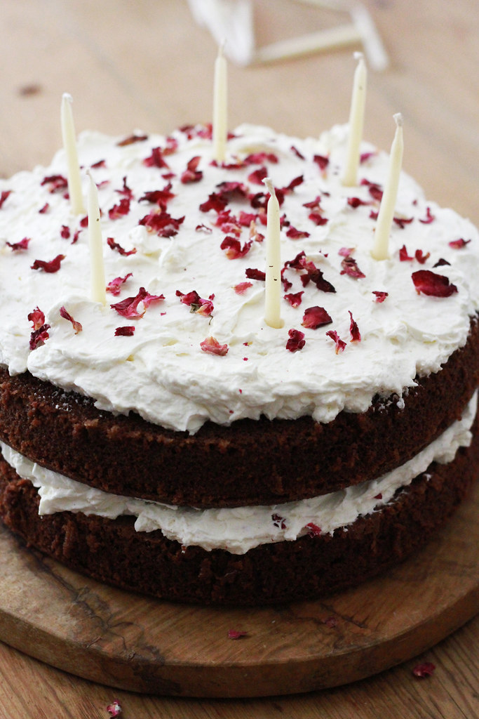 chocolate cake with rose petals