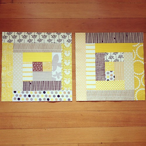 two log cabin quilt-as-you-go blocks for rachel for the April do. good stitches quilt.