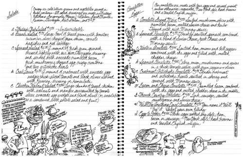 TGI Friday's Menu p6-7 salads omelettes & eggs, c1980