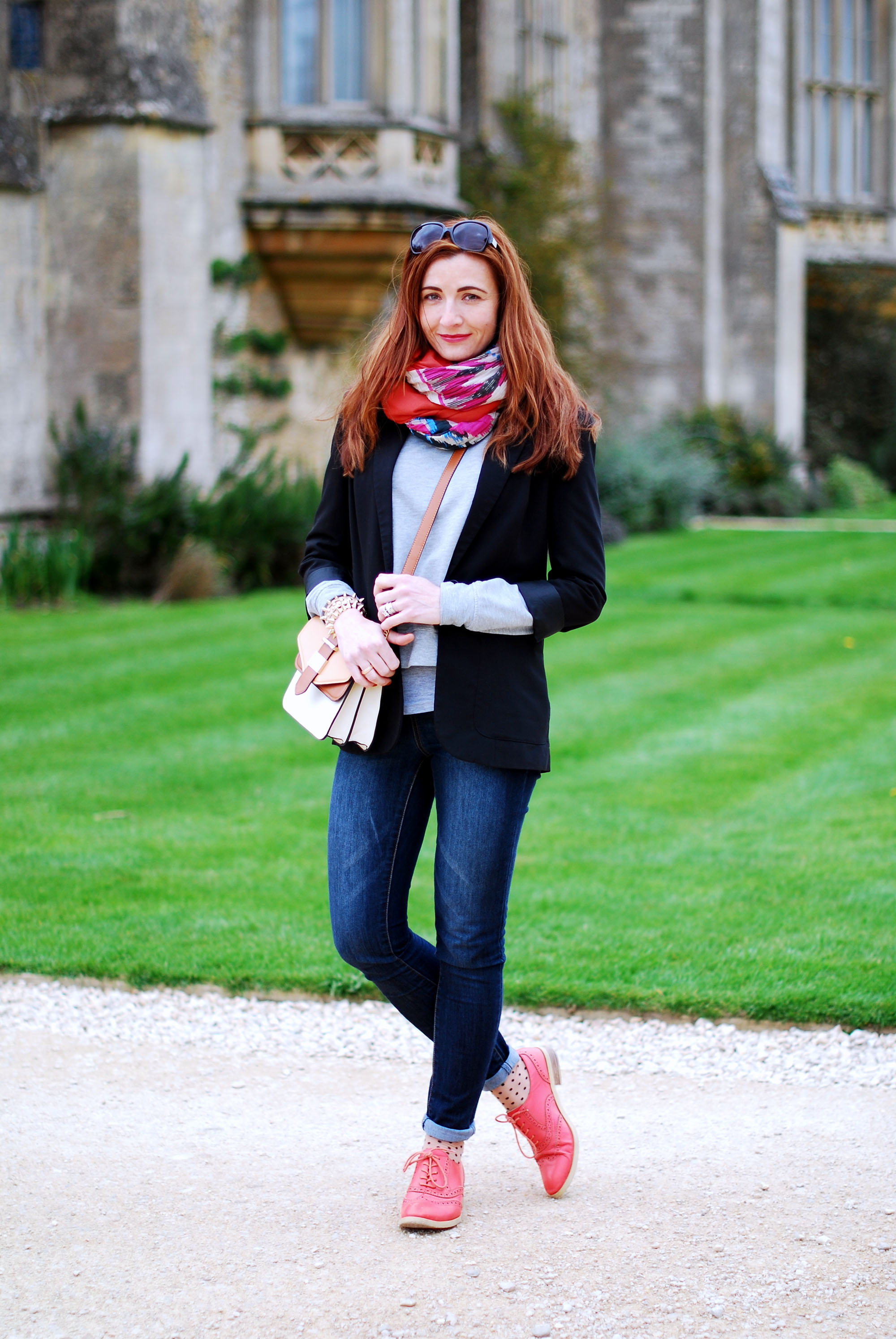 Black blazer & multi coloured scarves