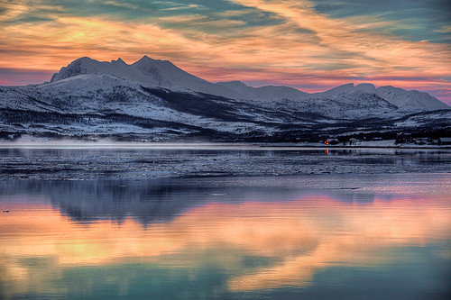 Norwegian sunset near Tromso, Norway