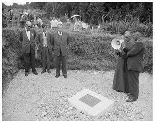 Unveiling of a commemorative stone at Te Pōrere, 18 February 1961