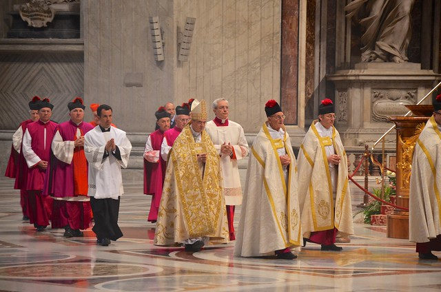 A Procession Of Cardinals In St. Peter's Basilica On Easter Sunday