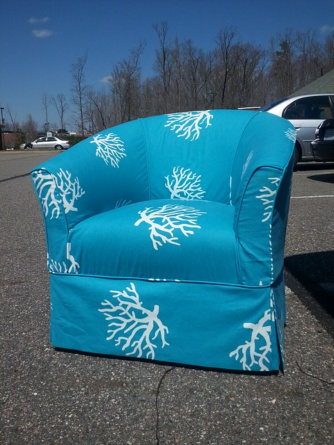 Beach House Chair: Turquoise coral slipcover