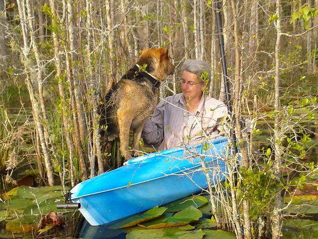 Gretchen inviting Brown Dog