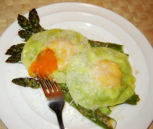 Creamy Pea & Egg Ravioli with Asparagus