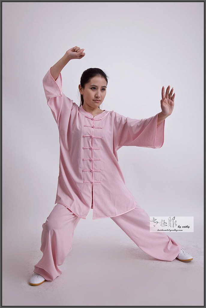 16012-1 low collar cotton spandex blend Tai Chi uniform for women